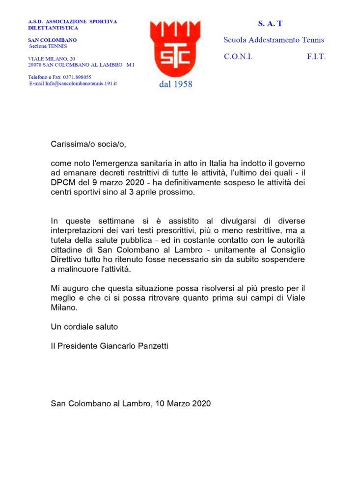 Coronavirus: comunicazione del presidente