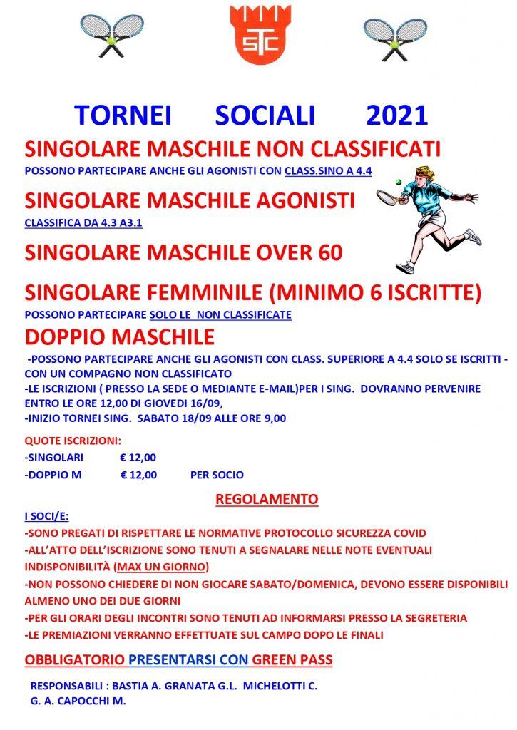 Tornei sociali 2021